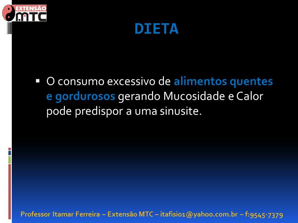 Professor Itamar Ferreira – Extensão MTC – itafisio1@yahoo.com.br – f:9545-7379 DIETA O consumo excessivo de alimentos quentes e gordurosos gerando Mu