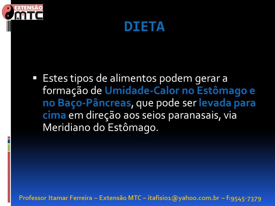 Professor Itamar Ferreira – Extensão MTC – itafisio1@yahoo.com.br – f:9545-7379 DIETA Estes tipos de alimentos podem gerar a formação de Umidade-Calor
