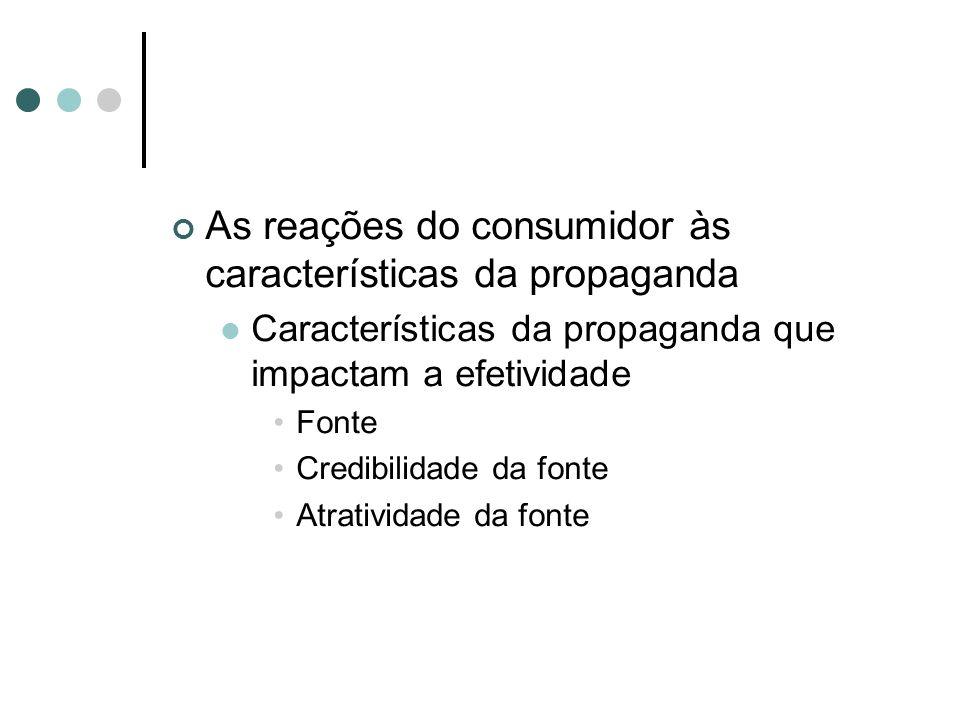 As reações do consumidor às características da propaganda Características da propaganda que impactam a efetividade Fonte Credibilidade da fonte Atrati