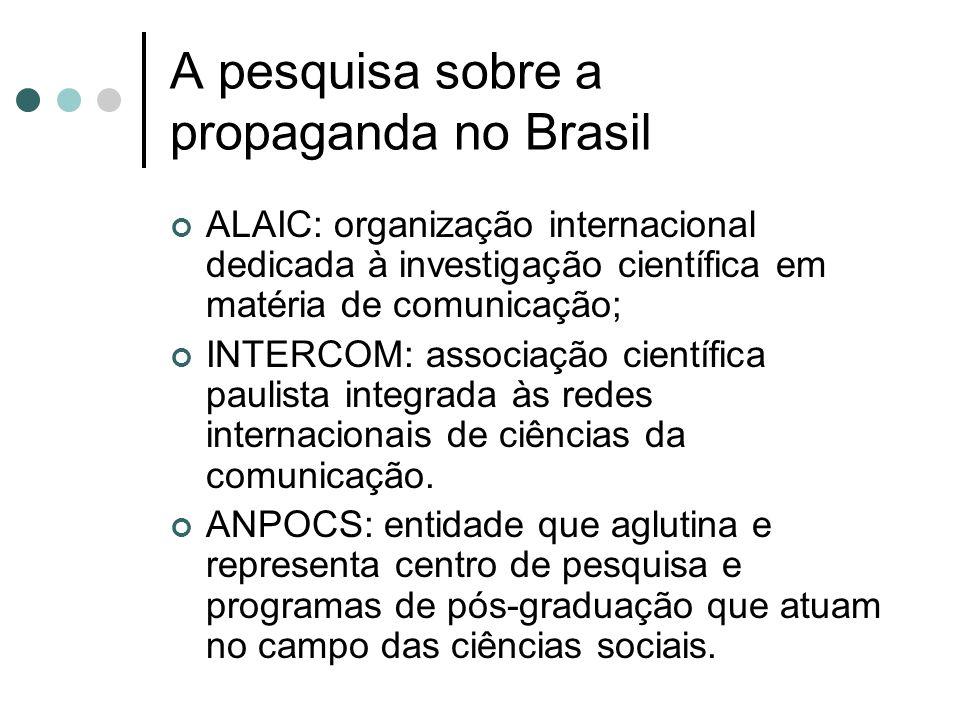 A pesquisa sobre a propaganda no Brasil ALAIC: organização internacional dedicada à investigação científica em matéria de comunicação; INTERCOM: assoc