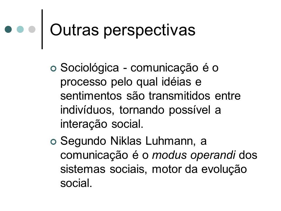 Outras perspectivas Sociológica - comunicação é o processo pelo qual idéias e sentimentos são transmitidos entre indivíduos, tornando possível a inter