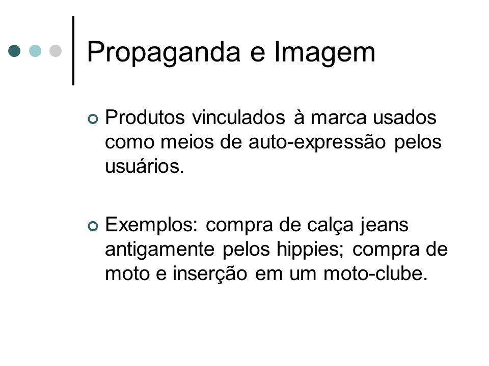 Propaganda e Imagem Produtos vinculados à marca usados como meios de auto-expressão pelos usuários. Exemplos: compra de calça jeans antigamente pelos