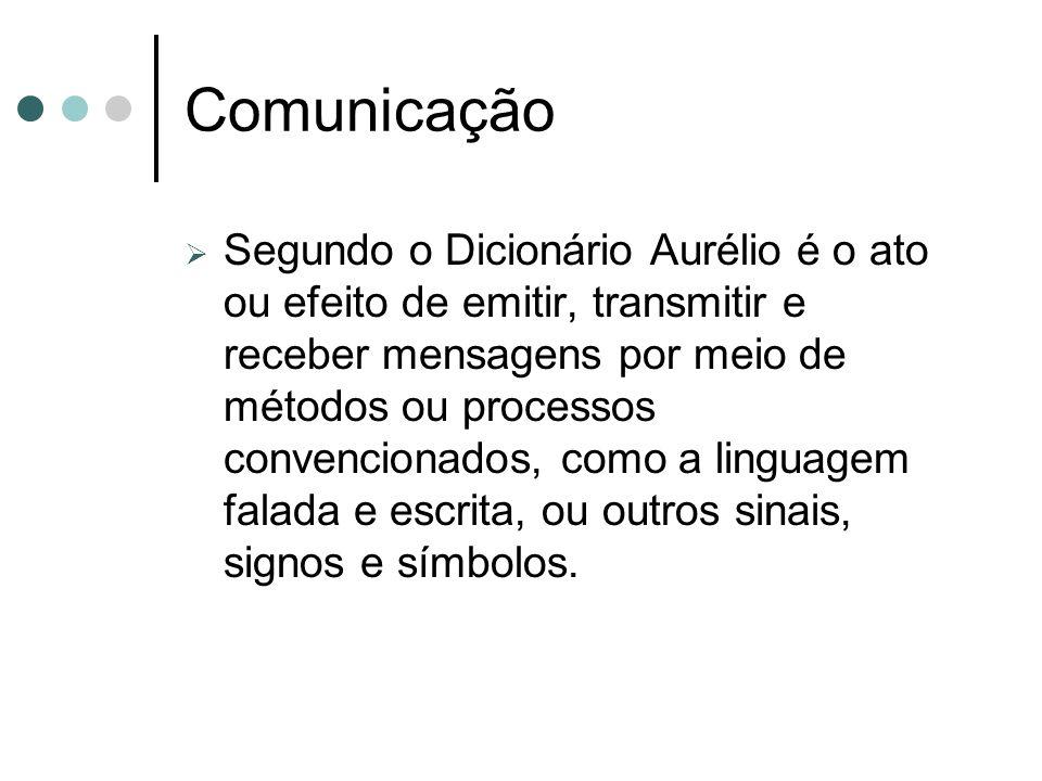 Comunicação Segundo o Dicionário Aurélio é o ato ou efeito de emitir, transmitir e receber mensagens por meio de métodos ou processos convencionados,