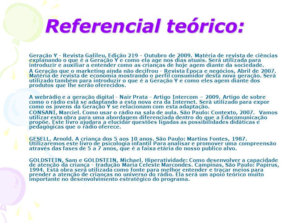 Referencial teórico: Geração Y - Revista Galileu, Edição 219 - Outubro de 2009. Matéria de revista de ciências explanando o que é a Geração Y e como e