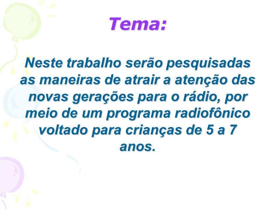 Tema: Neste trabalho serão pesquisadas as maneiras de atrair a atenção das novas gerações para o rádio, por meio de um programa radiofônico voltado pa