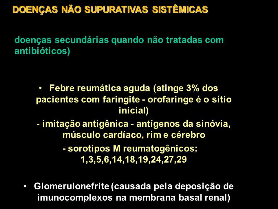 Febre reumática aguda (atinge 3% dos pacientes com faringite - orofaringe é o sítio inicial) - imitação antigênica - antígenos da sinóvia, músculo car