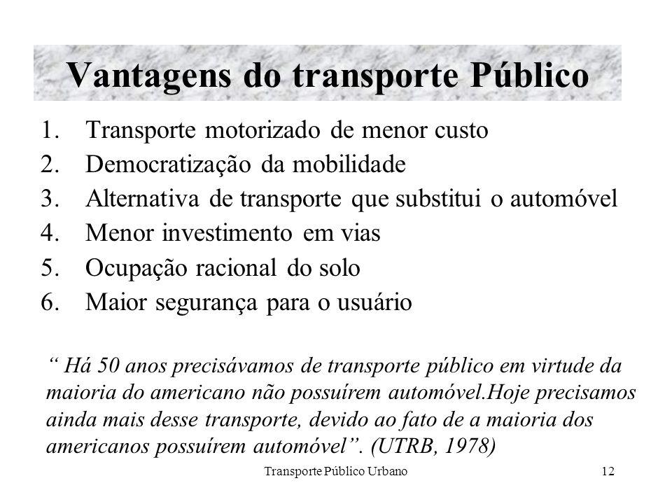 Transporte Público Urbano12 Vantagens do transporte Público 1.Transporte motorizado de menor custo 2.Democratização da mobilidade 3.Alternativa de tra