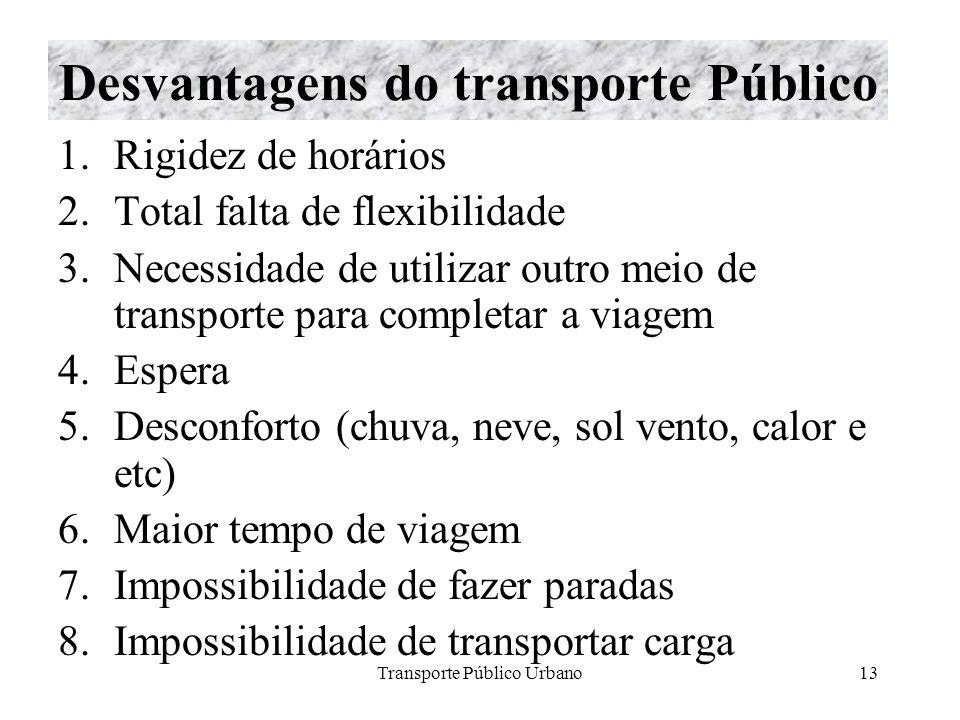Transporte Público Urbano13 Desvantagens do transporte Público 1.Rigidez de horários 2.Total falta de flexibilidade 3.Necessidade de utilizar outro me