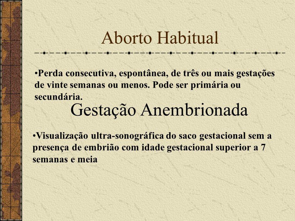 Aborto Habitual Perda consecutiva, espontânea, de três ou mais gestações de vinte semanas ou menos. Pode ser primária ou secundária. Gestação Anembrio