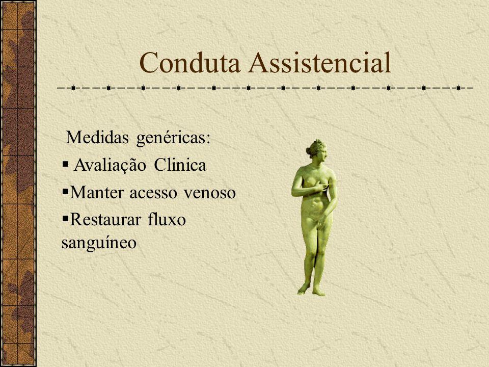 Conduta Assistencial Medidas genéricas: Avaliação Clinica Manter acesso venoso Restaurar fluxo sanguíneo