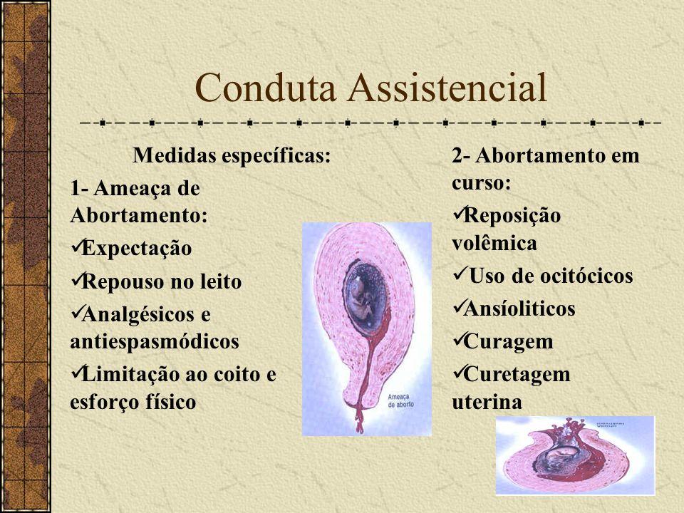 Conduta Assistencial Medidas específicas: 1- Ameaça de Abortamento: Expectação Repouso no leito Analgésicos e antiespasmódicos Limitação ao coito e es