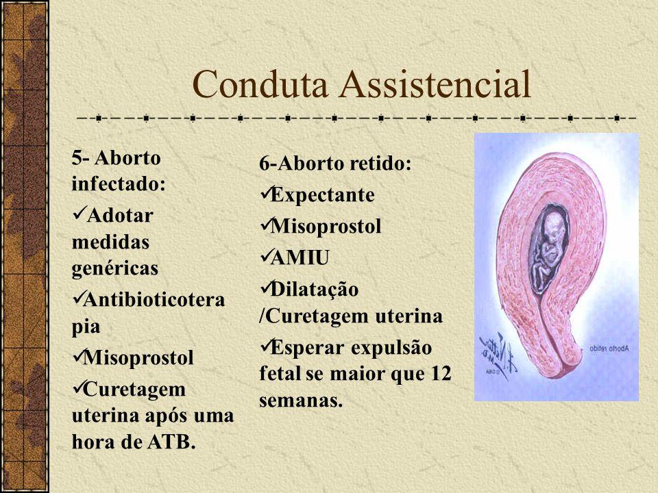 Conduta Assistencial 5- Aborto infectado: Adotar medidas genéricas Antibioticotera pia Misoprostol Curetagem uterina após uma hora de ATB. 6-Aborto re