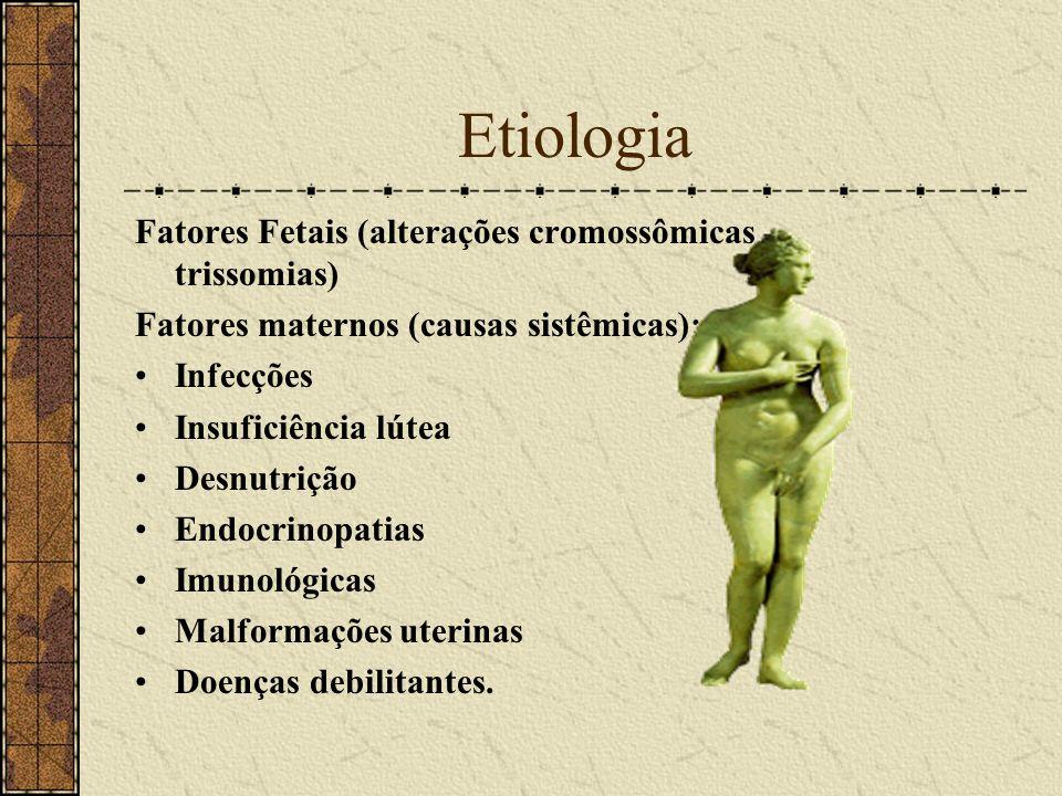 Etiologia Fatores Fetais (alterações cromossômicas - trissomias) Fatores maternos (causas sistêmicas): Infecções Insuficiência lútea Desnutrição Endoc