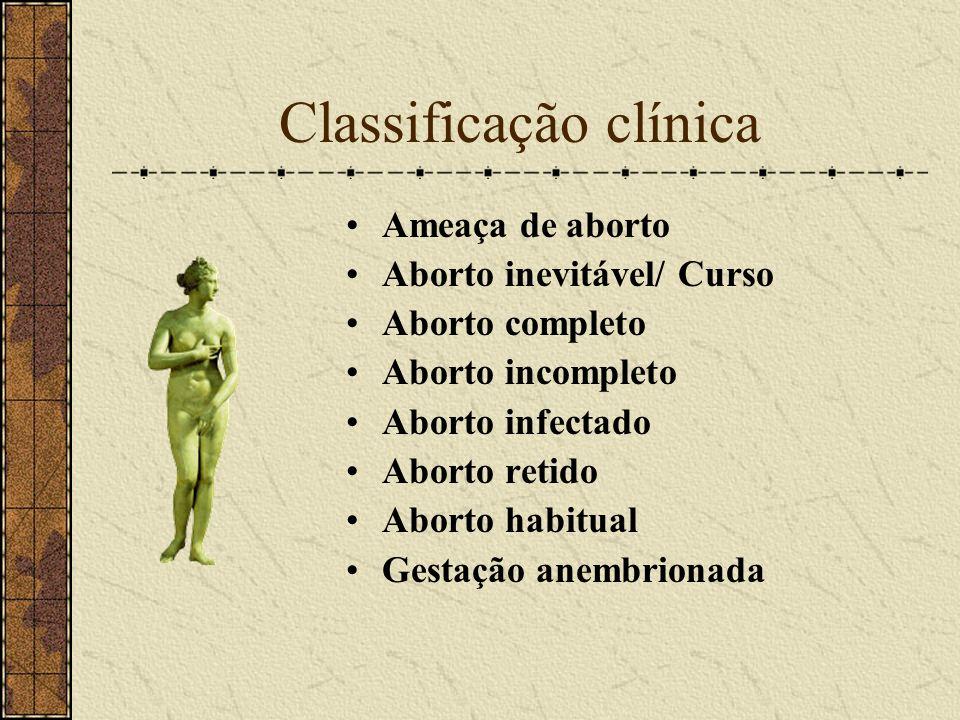 Classificação clínica Ameaça de aborto Aborto inevitável/ Curso Aborto completo Aborto incompleto Aborto infectado Aborto retido Aborto habitual Gesta