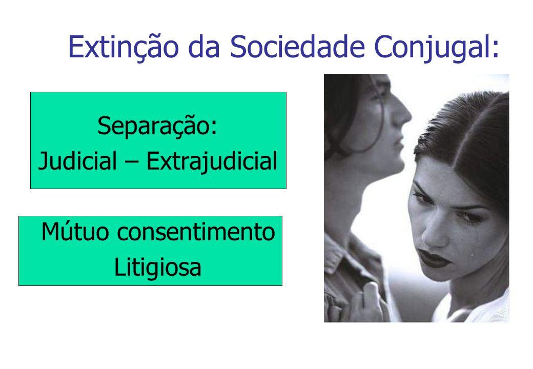Extinção da Sociedade Conjugal: Separação: Judicial – Extrajudicial Mútuo consentimento Litigiosa