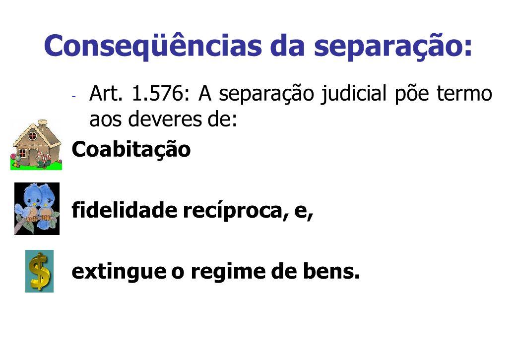 Conseqüências da separação: - Art. 1.576: A separação judicial põe termo aos deveres de: Coabitação fidelidade recíproca, e, extingue o regime de bens