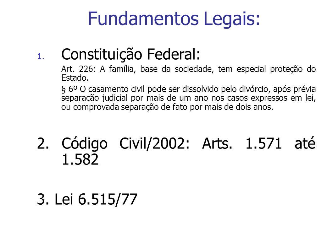 Fundamentos Legais: 1. Constituição Federal: Art. 226: A família, base da sociedade, tem especial proteção do Estado. § 6º O casamento civil pode ser