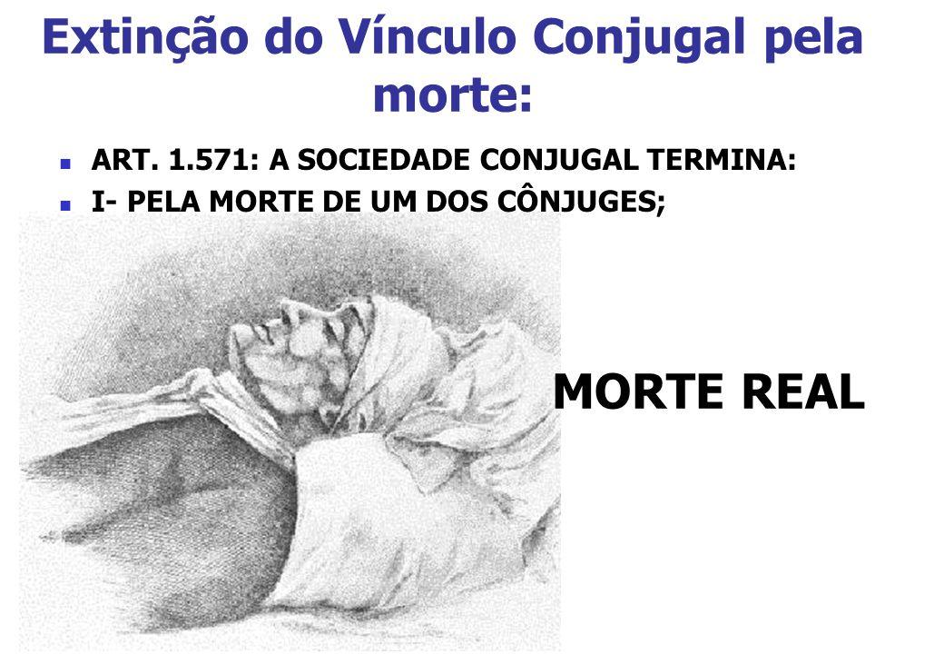 Extinção do Vínculo Conjugal pela morte: MORTE REAL ART. 1.571: A SOCIEDADE CONJUGAL TERMINA: I- PELA MORTE DE UM DOS CÔNJUGES;