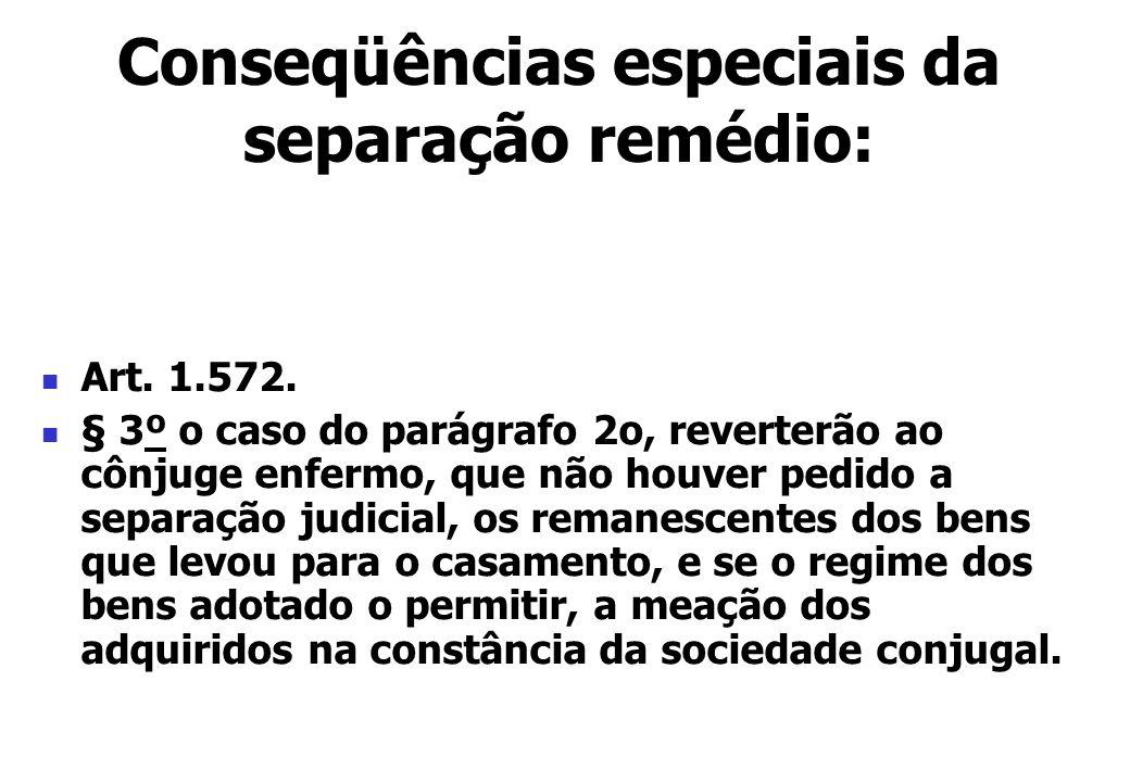Art. 1.572. § 3º o caso do parágrafo 2o, reverterão ao cônjuge enfermo, que não houver pedido a separação judicial, os remanescentes dos bens que levo
