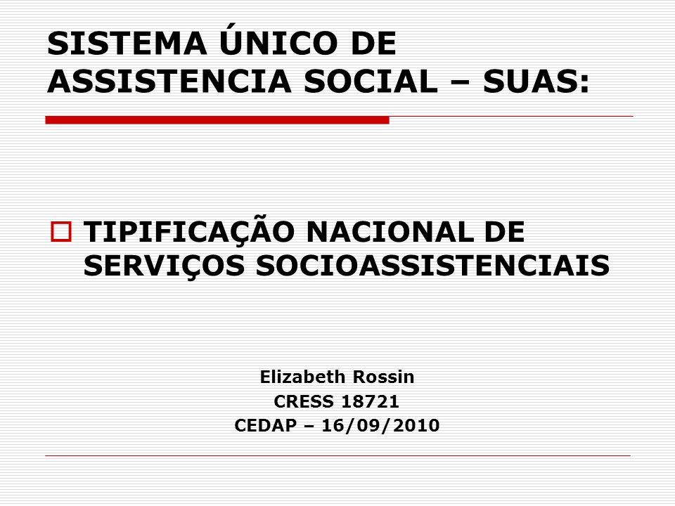 SISTEMA ÚNICO DE ASSISTENCIA SOCIAL – SUAS: TIPIFICAÇÃO NACIONAL DE SERVIÇOS SOCIOASSISTENCIAIS Elizabeth Rossin CRESS 18721 CEDAP – 16/09/2010