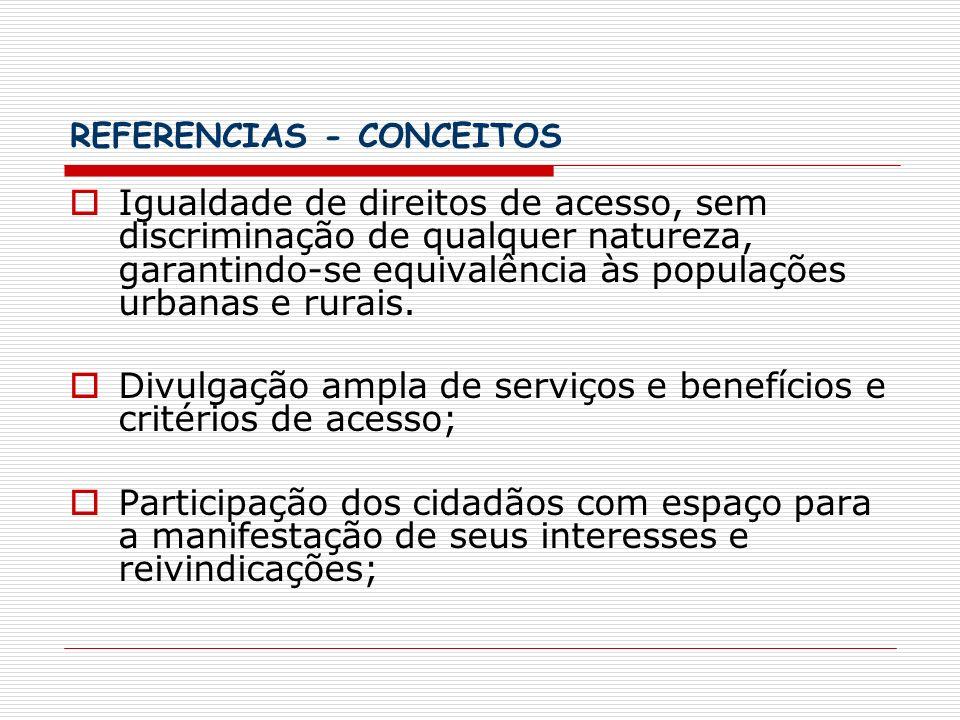REFERENCIAS - CONCEITOS Igualdade de direitos de acesso, sem discriminação de qualquer natureza, garantindo-se equivalência às populações urbanas e ru