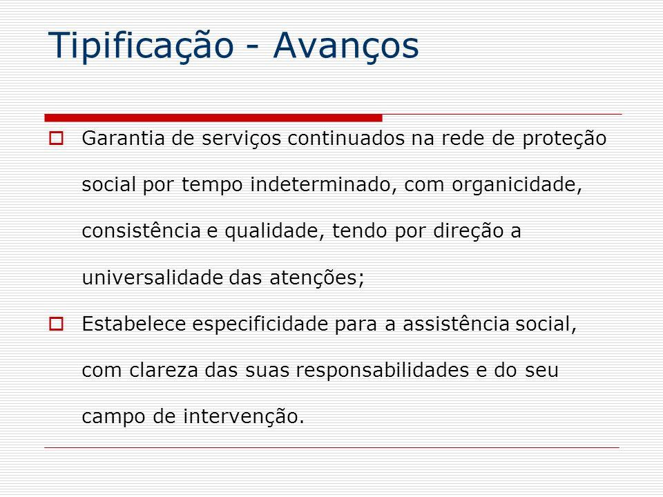 Tipificação - Avanços Garantia de serviços continuados na rede de proteção social por tempo indeterminado, com organicidade, consistência e qualidade,