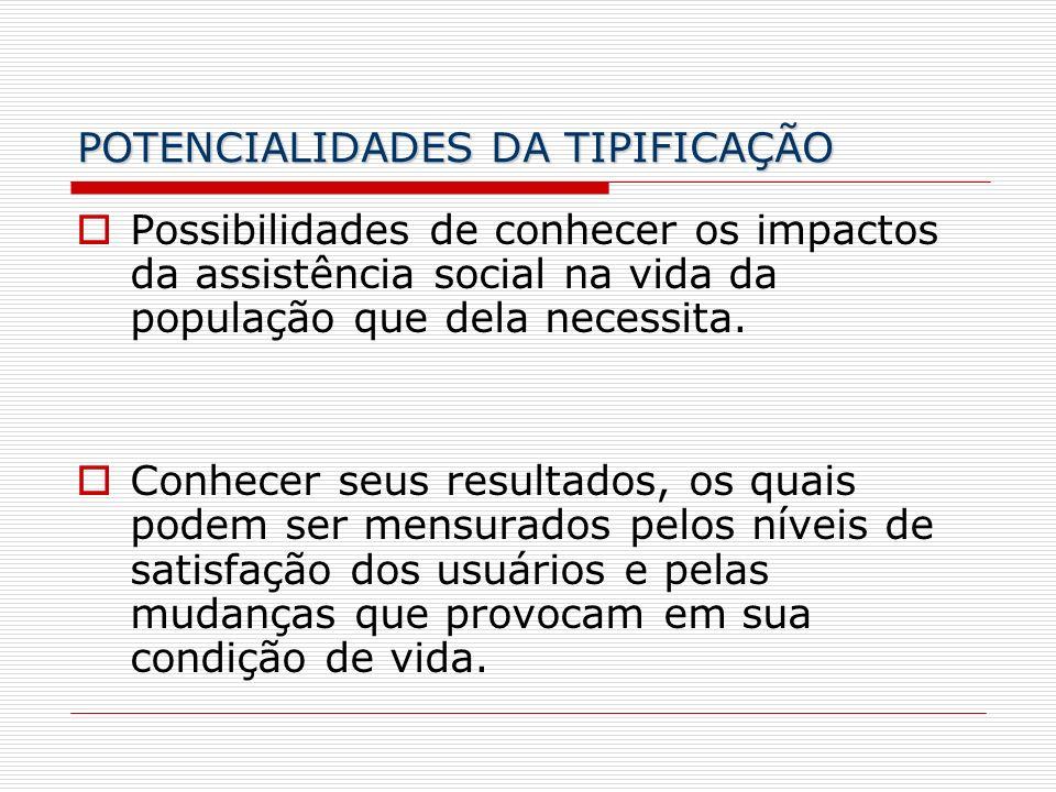 POTENCIALIDADES DA TIPIFICAÇÃO Possibilidades de conhecer os impactos da assistência social na vida da população que dela necessita. Conhecer seus res