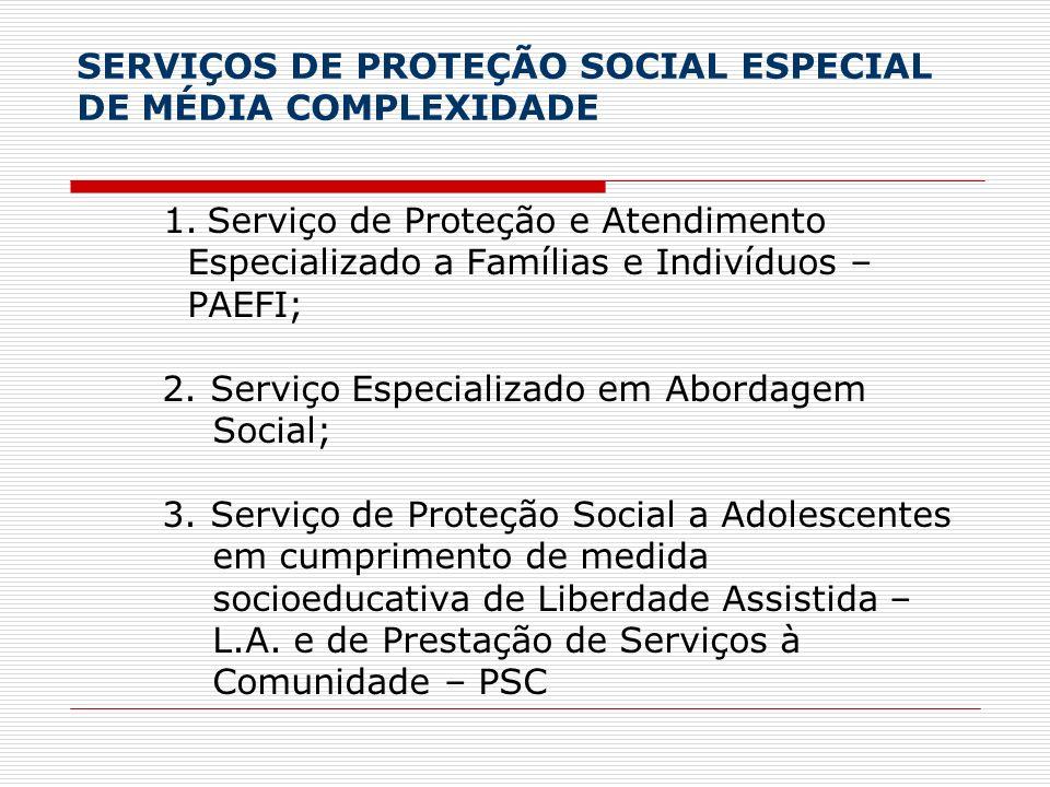 SERVIÇOS DE PROTEÇÃO SOCIAL ESPECIAL DE MÉDIA COMPLEXIDADE 1. Serviço de Proteção e Atendimento Especializado a Famílias e Indivíduos – PAEFI; 2. Serv