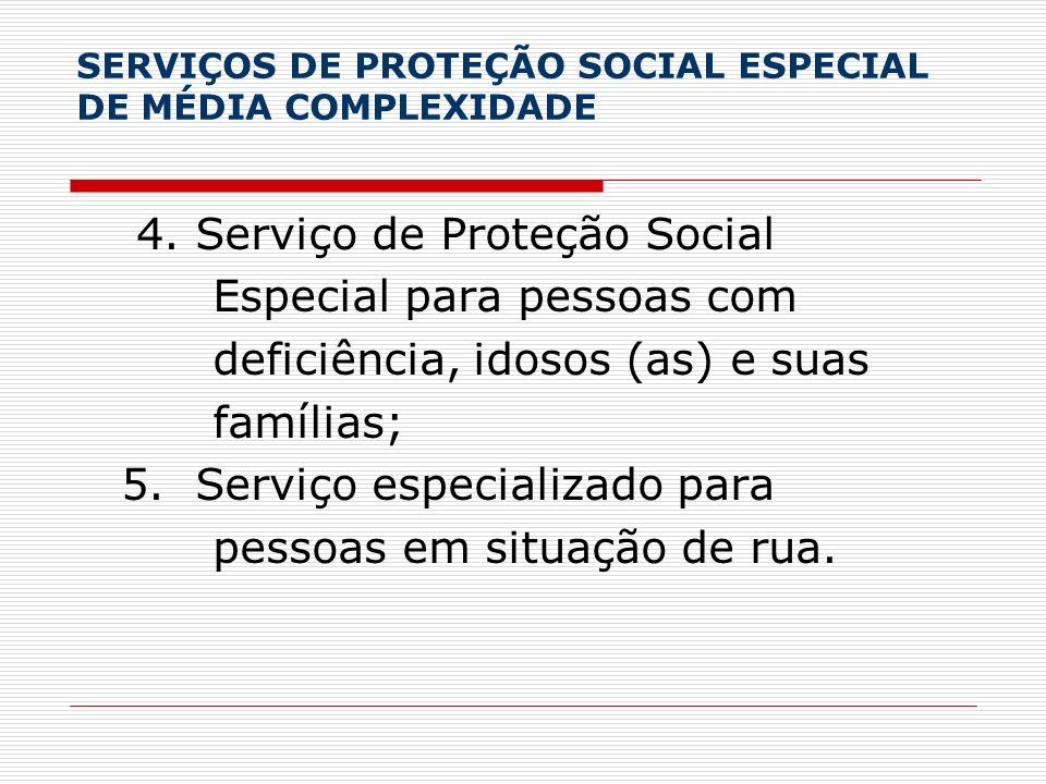 SERVIÇOS DE PROTEÇÃO SOCIAL ESPECIAL DE MÉDIA COMPLEXIDADE 4. Serviço de Proteção Social Especial para pessoas com deficiência, idosos (as) e suas fam