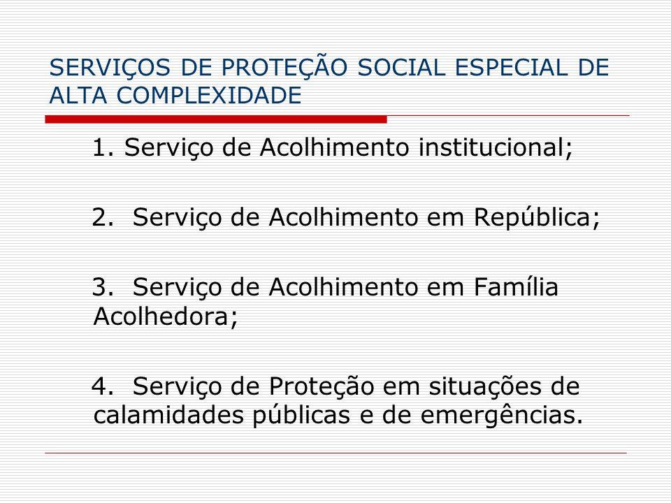 SERVIÇOS DE PROTEÇÃO SOCIAL ESPECIAL DE ALTA COMPLEXIDADE 1. Serviço de Acolhimento institucional; 2. Serviço de Acolhimento em República; 3. Serviço