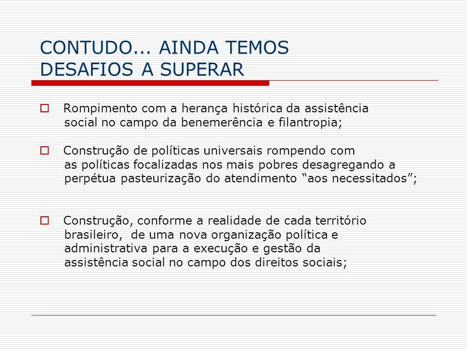 CONTUDO... AINDA TEMOS DESAFIOS A SUPERAR Rompimento com a herança histórica da assistência social no campo da benemerência e filantropia; Construção