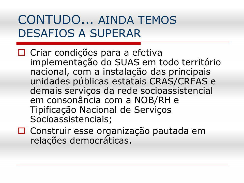 CONTUDO... AINDA TEMOS DESAFIOS A SUPERAR Criar condições para a efetiva implementação do SUAS em todo território nacional, com a instalação das princ