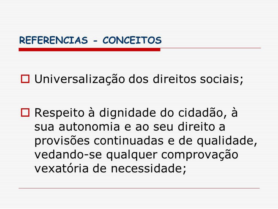 REFERENCIAS - CONCEITOS Universalização dos direitos sociais; Respeito à dignidade do cidadão, à sua autonomia e ao seu direito a provisões continuada