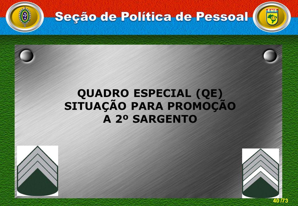 40 /73 QUADRO ESPECIAL (QE) SITUAÇÃO PARA PROMOÇÃO A 2º SARGENTO
