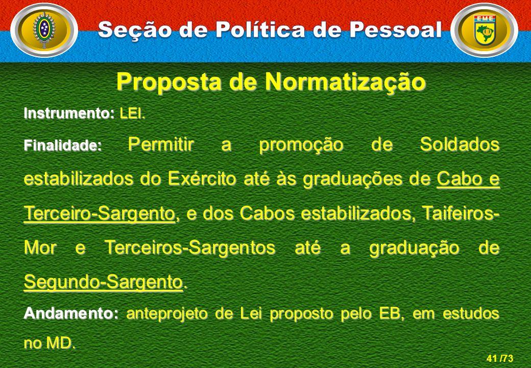 41 /73 Instrumento: LEI. Finalidade: Permitir a promoção de Soldados estabilizados do Exército até às graduações de Cabo e Terceiro-Sargento, e dos Ca