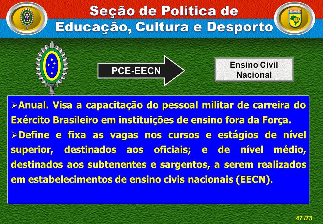 47 /73 PCE-EECN Anual. Visa a capacitação do pessoal militar de carreira do Exército Brasileiro em instituições de ensino fora da Força. Define e fixa