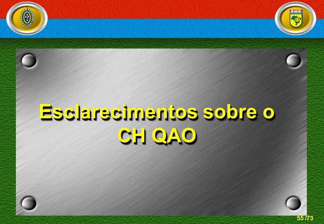 55 /73 Esclarecimentos sobre o CH QAO