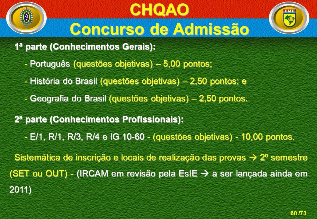 60 /73 1ª parte (Conhecimentos Gerais): 1ª parte (Conhecimentos Gerais): - Português (questões objetivas) – 5,00 pontos; - Português (questões objetiv