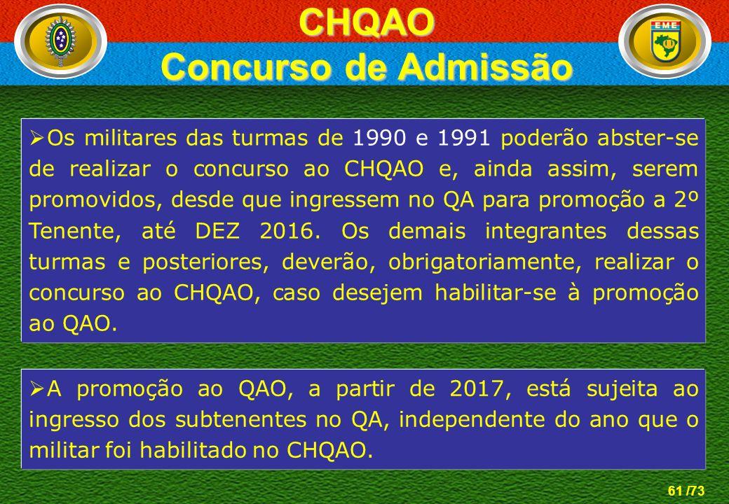 61 /73 CHQAO Concurso de Admissão Os militares das turmas de 1990 e 1991 poderão abster-se de realizar o concurso ao CHQAO e, ainda assim, serem promo