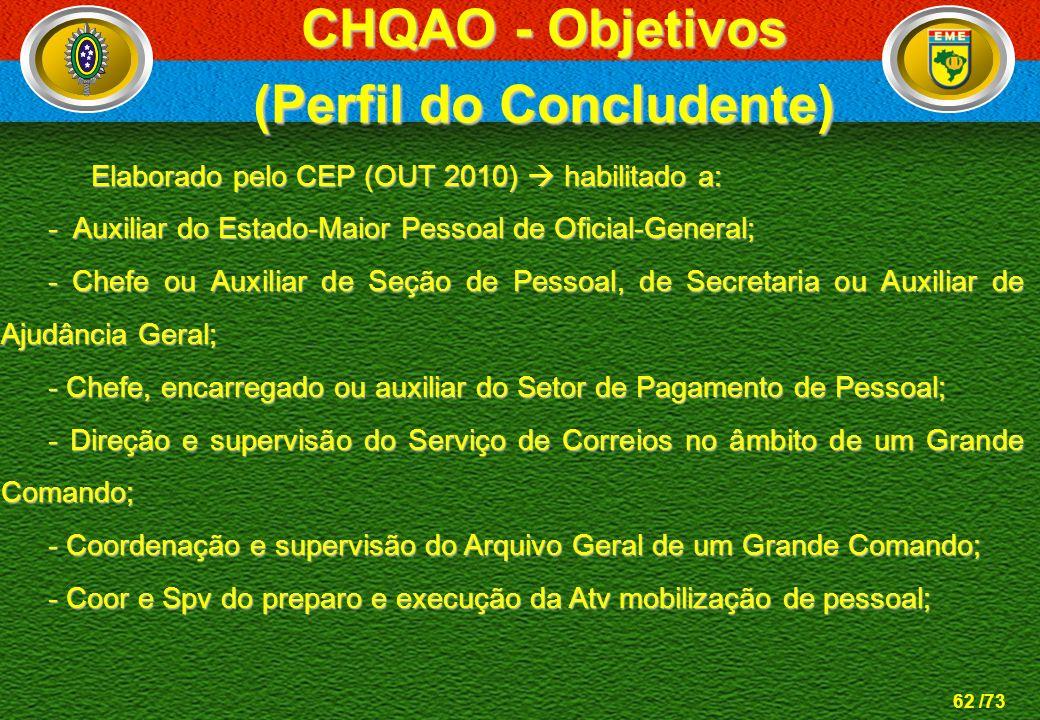62 /73 Elaborado pelo CEP (OUT 2010) habilitado a: Elaborado pelo CEP (OUT 2010) habilitado a: - Auxiliar do Estado-Maior Pessoal de Oficial-General;
