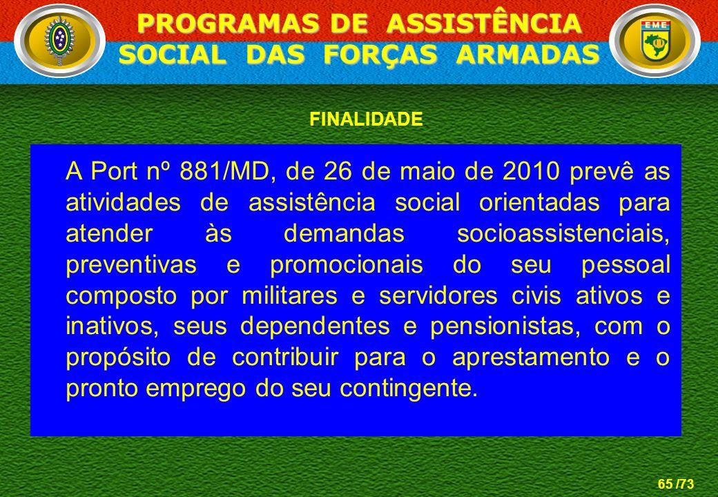 65 /73 FINALIDADE A Port nº 881/MD, de 26 de maio de 2010 prevê as atividades de assistência social orientadas para atender às demandas socioassistenc