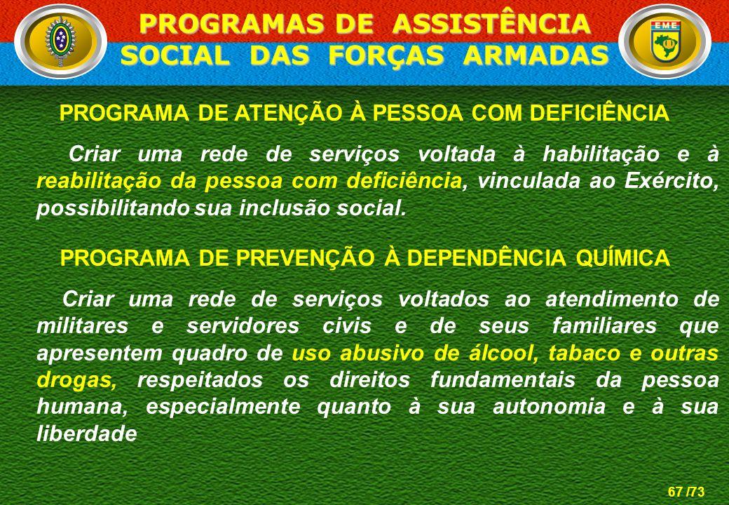 67 /73 PROGRAMA DE ATENÇÃO À PESSOA COM DEFICIÊNCIA Criar uma rede de serviços voltada à habilitação e à reabilitação da pessoa com deficiência, vincu
