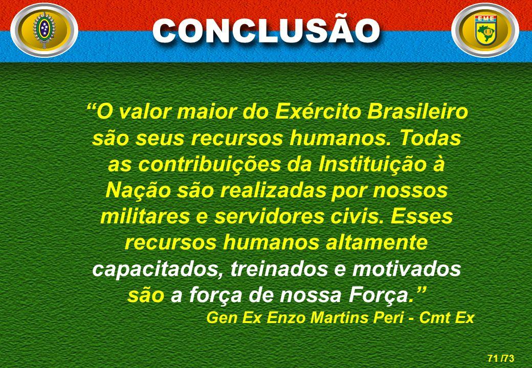 71 /73 O valor maior do Exército Brasileiro são seus recursos humanos. Todas as contribuições da Instituição à Nação são realizadas por nossos militar