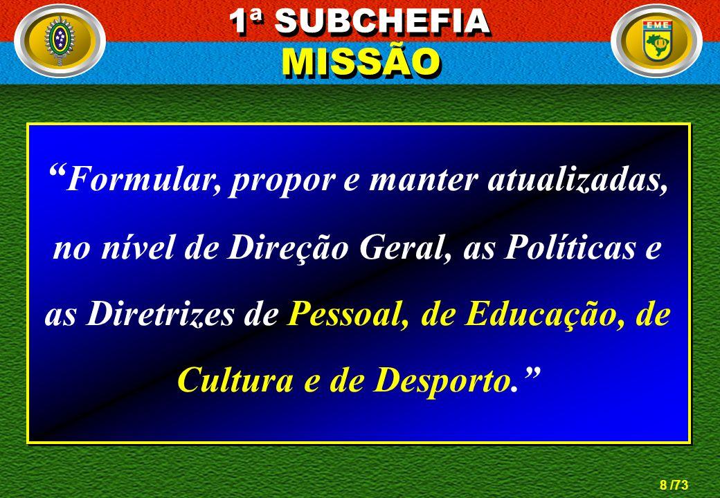 8 /73 Formular, propor e manter atualizadas, no nível de Direção Geral, as Políticas e as Diretrizes de Pessoal, de Educação, de Cultura e de Desporto