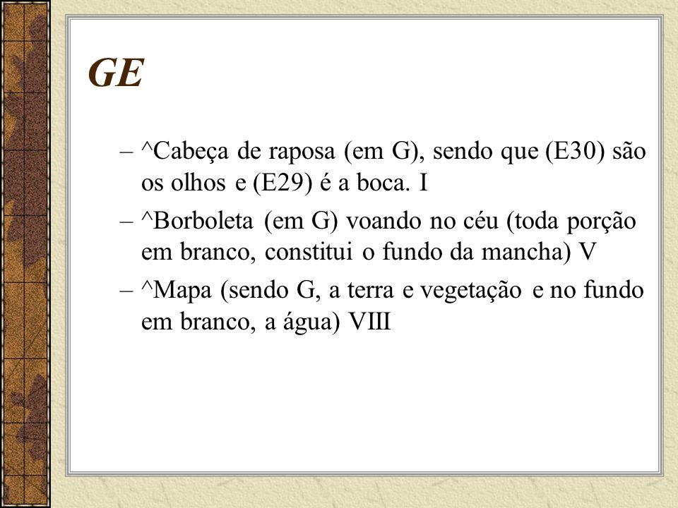 GE –^Cabeça de raposa (em G), sendo que (E30) são os olhos e (E29) é a boca.