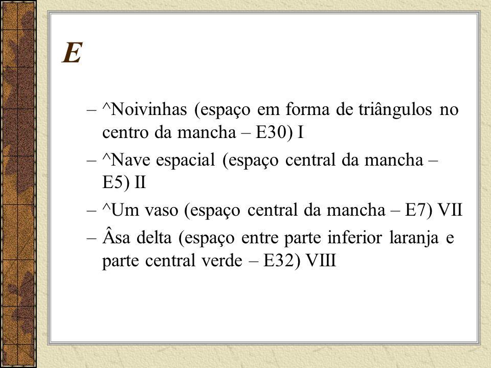 E –^Noivinhas (espaço em forma de triângulos no centro da mancha – E30) I –^Nave espacial (espaço central da mancha – E5) II –^Um vaso (espaço central da mancha – E7) VII –Âsa delta (espaço entre parte inferior laranja e parte central verde – E32) VIII