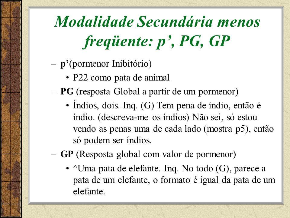 Modalidade Secundária menos freqüente: p, PG, GP –p(pormenor Inibitório) P22 como pata de animal –PG (resposta Global a partir de um pormenor) Índios, dois.