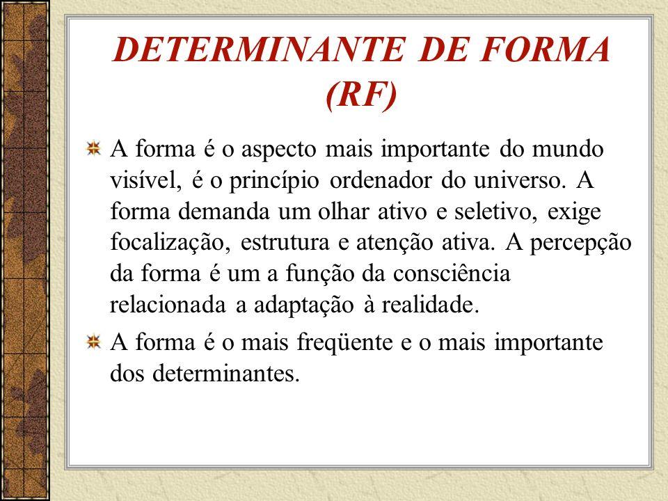 DETERMINANTE DE FORMA (RF) A forma é o aspecto mais importante do mundo visível, é o princípio ordenador do universo.