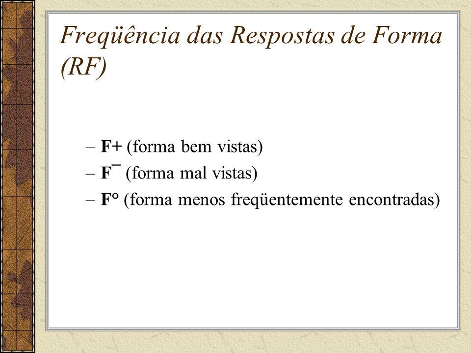 Freqüência das Respostas de Forma (RF) –F+ (forma bem vistas) –F¯ (forma mal vistas) –F° (forma menos freqüentemente encontradas)