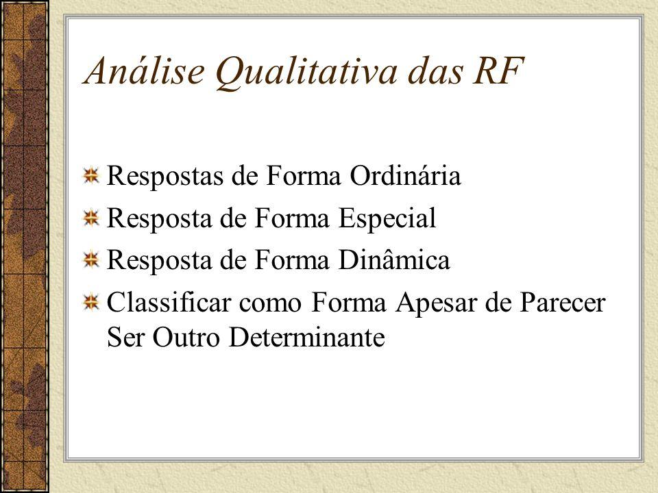 Análise Qualitativa das RF Respostas de Forma Ordinária Resposta de Forma Especial Resposta de Forma Dinâmica Classificar como Forma Apesar de Parecer Ser Outro Determinante